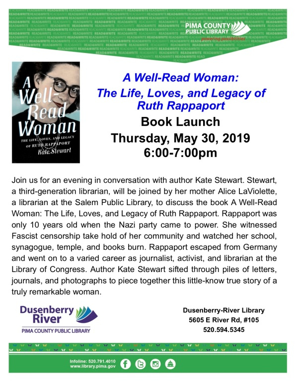 library event flyer 5.30.19 -- a well-read woman